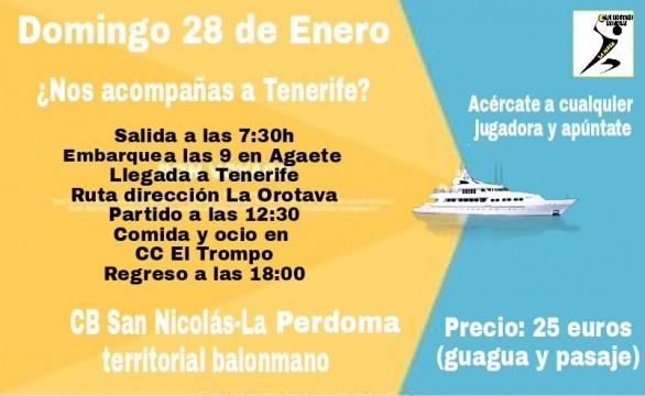 Cartel viaje a Tenerife para aficionados