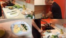 Víctor Hernández cocina gallo a la plancha