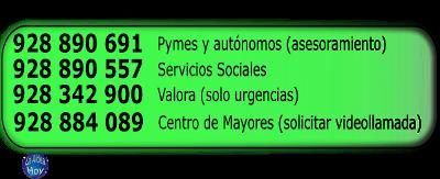 Cuadro de números de teléfono del Ayuntamiento